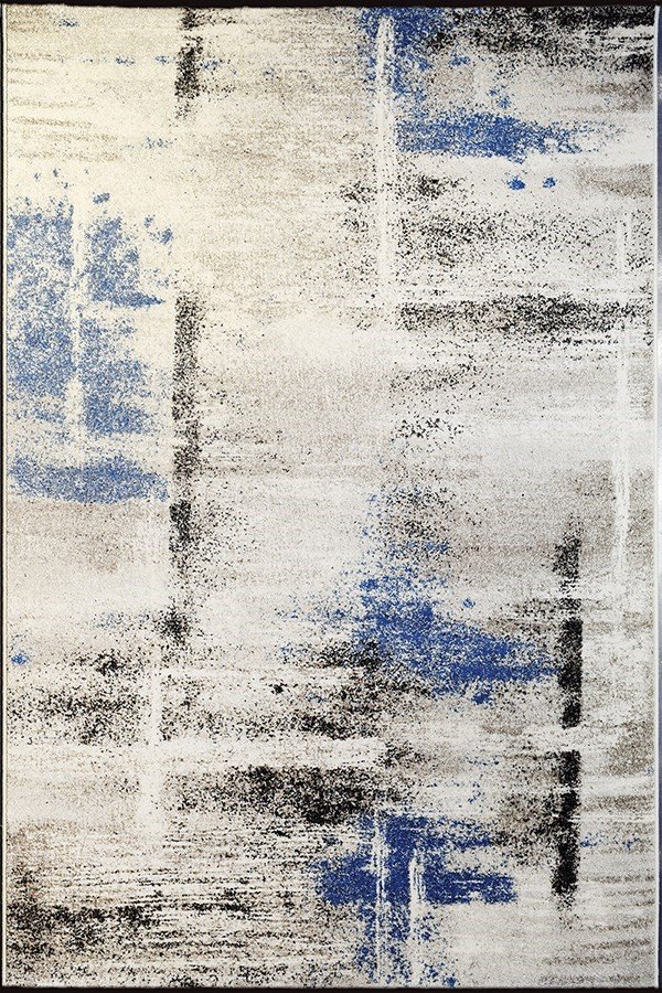 Ivory, BlueIvory, Blue (6354) Abstract Area Rug