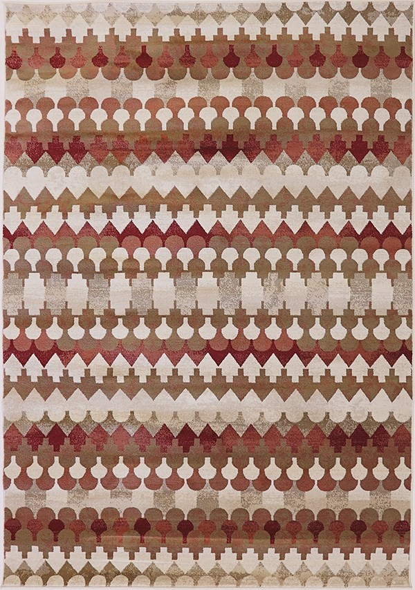 Red, Ivory (339) Transitional Area Rug