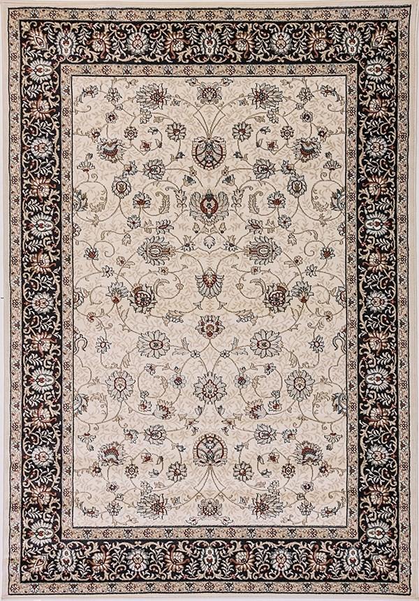 Ivory, Black (414) Traditional / Oriental Area Rug