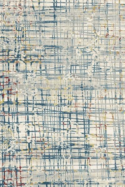 Ivory, Blue (150) Contemporary / Modern Area Rug