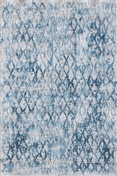 Ivory, Blue (500) Contemporary / Modern Area Rug