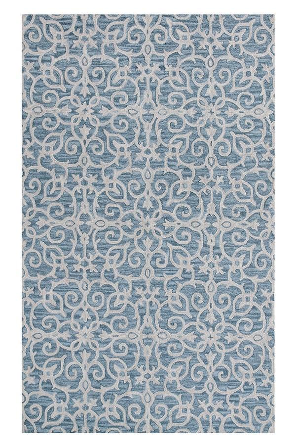 Blue (590) Damask Area Rug