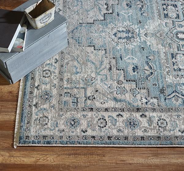 Light Blue, Cream (6882-500) Traditional / Oriental Area Rug