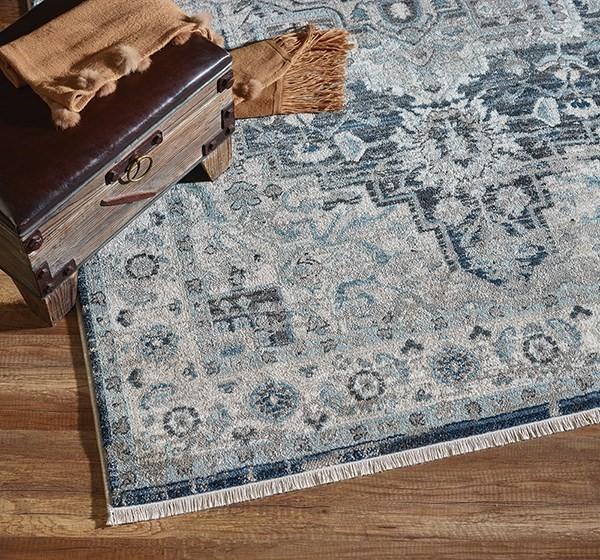 Dark Blue, Cream (6882-590) Traditional / Oriental Area Rug