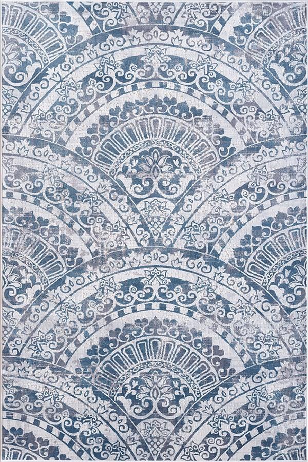 Cream, Grey, Blue (115) Mandala Area Rug