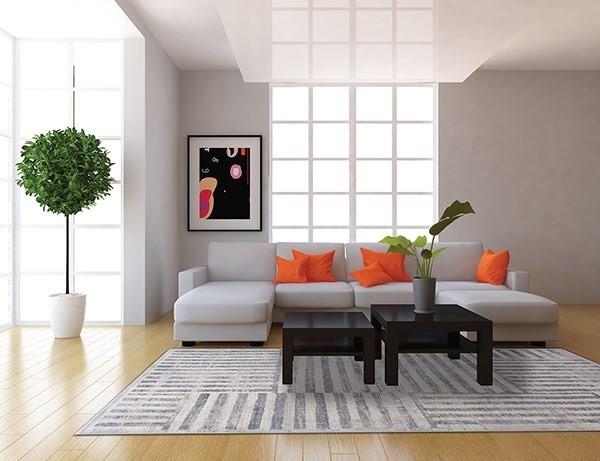 Cream, Grey (119) Contemporary / Modern Area Rug