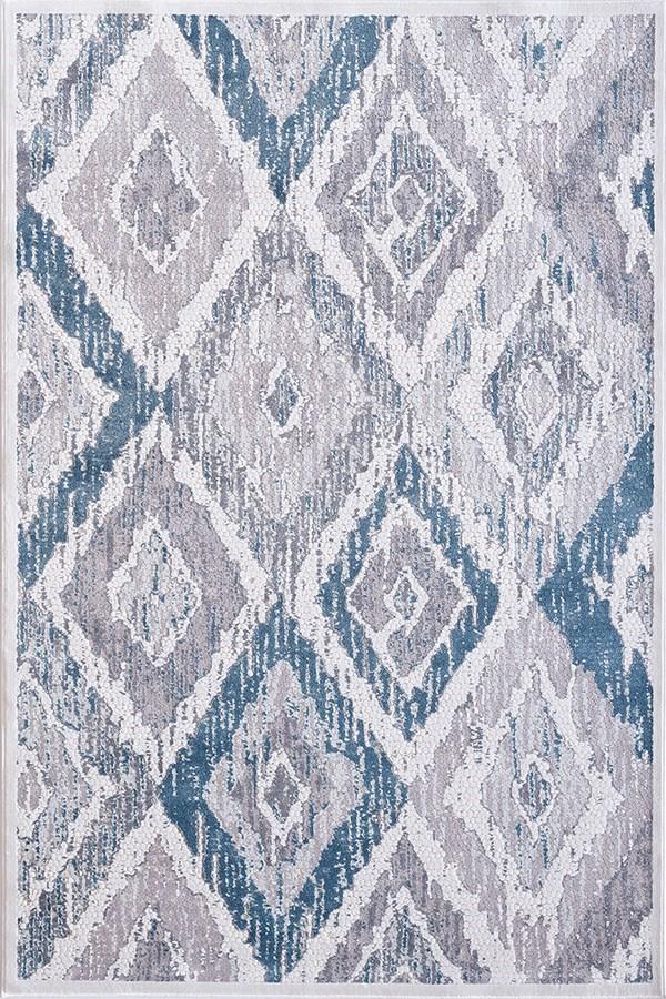Cream, Grey, Blue (115) Ikat Area Rug