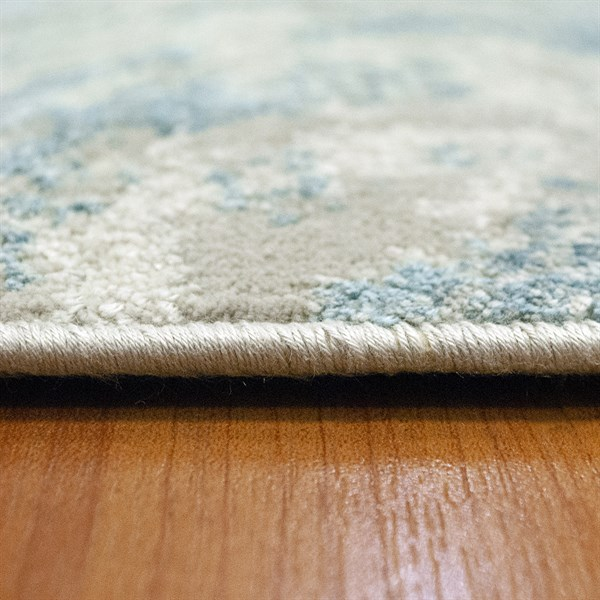 Ivory, Blue (150) Abstract Area Rug