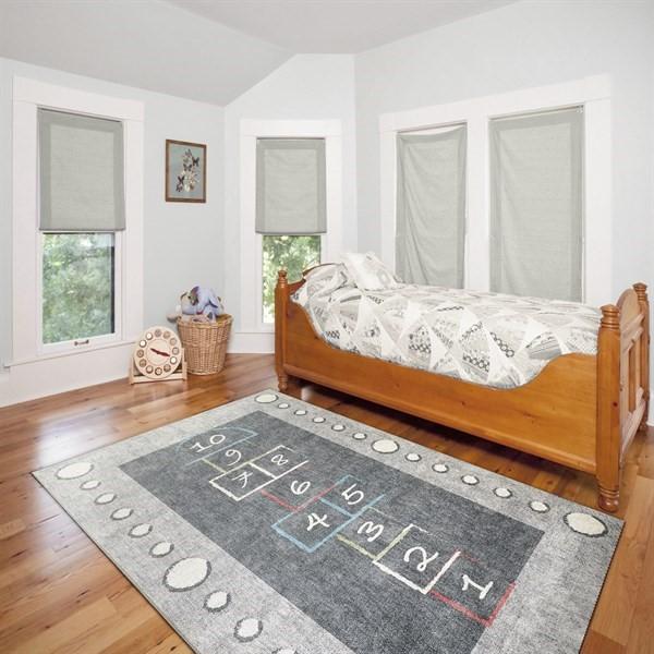 Light Grey, Charcoal Children's / Kids Area Rug