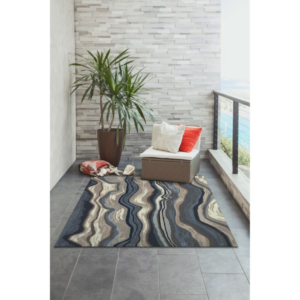 Blue, Grey (2285-03) Contemporary / Modern Area Rug