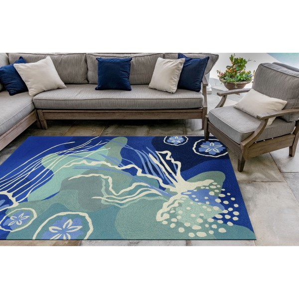 Blue, Navy, Ivory (1665-04) Outdoor / Indoor Area Rug
