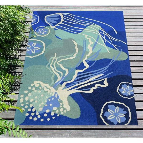 Blue, Navy, Ivory (1665-04) Outdoor / Indoor Area Rug
