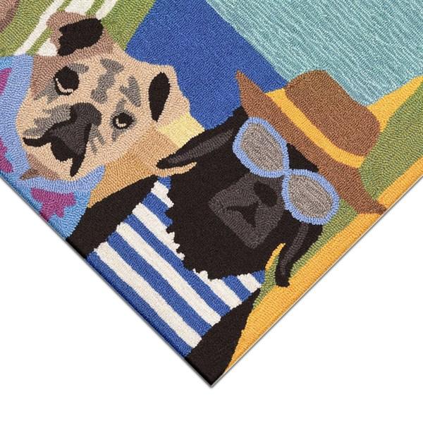 Black, Blue, Brown (1586-44) Outdoor / Indoor Area Rug