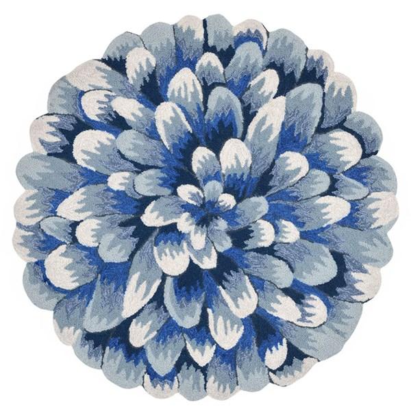 Blue (1828-03) Floral / Botanical Area Rug