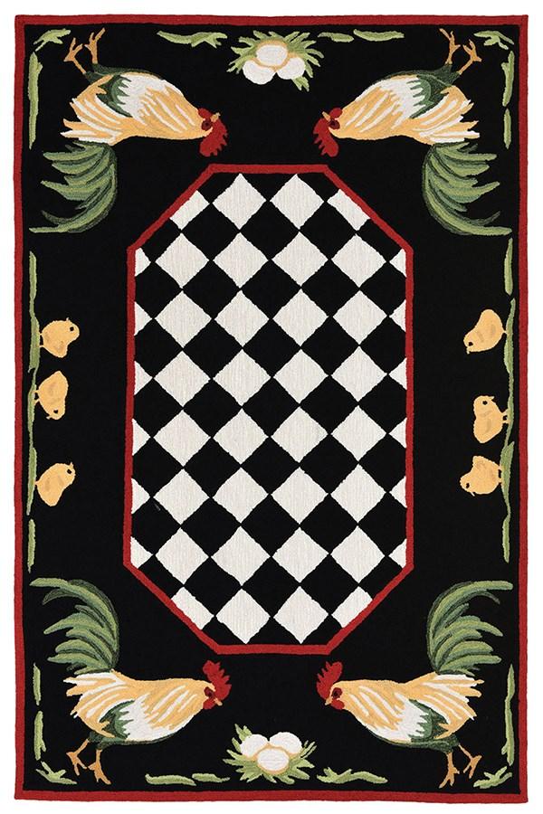 Black (2408-48) Animals / Animal Skins Area Rug