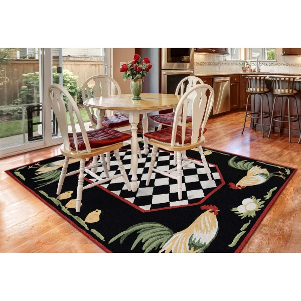 Black (2408-48) Animals / Animal Skins Area Rug