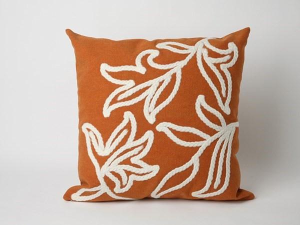 Orange, White (3076-17) Floral / Botanical pillow