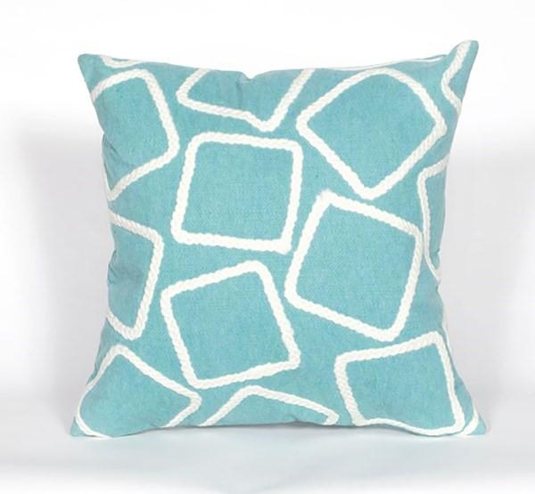 Aqua, White (4087-04) Outdoor / Indoor pillow