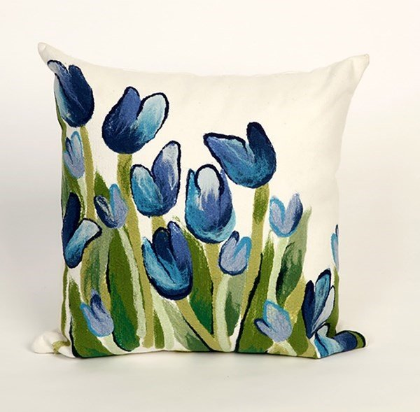 Blue, Green, White (4134-03) Floral / Botanical pillow