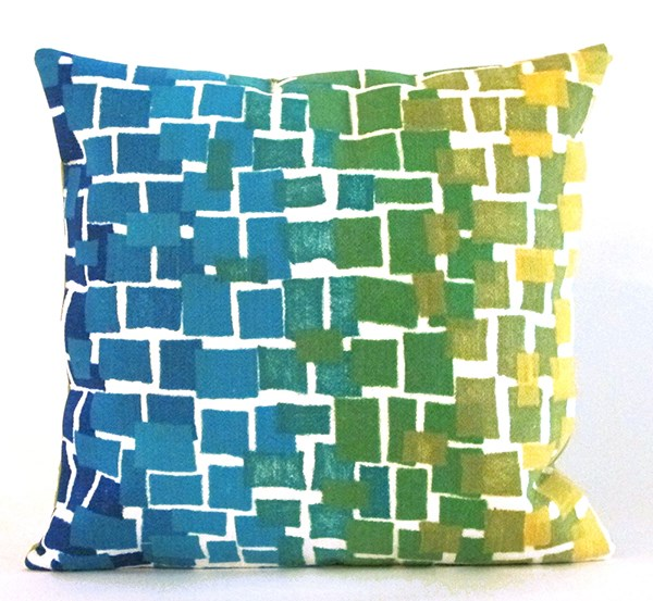 Blue, Green, White, Yellow (4159-06) Outdoor / Indoor pillow