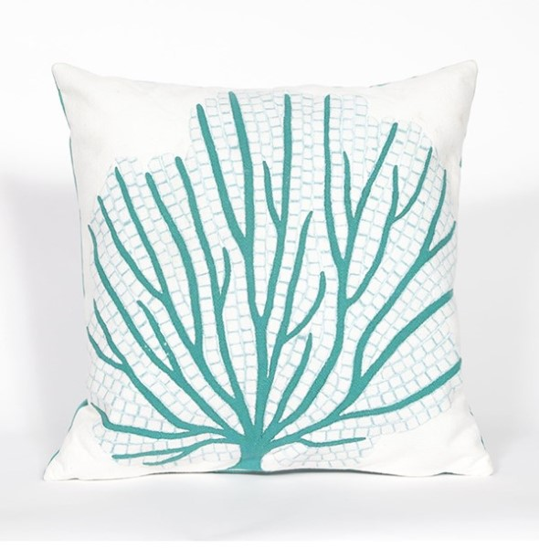 Aqua, White (4185-04) Outdoor / Indoor pillow