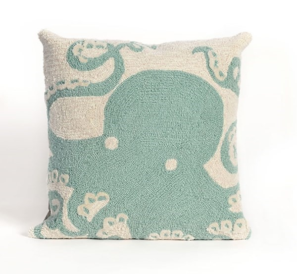 Aqua, Ivory (1432-04) Beach / Nautical pillow