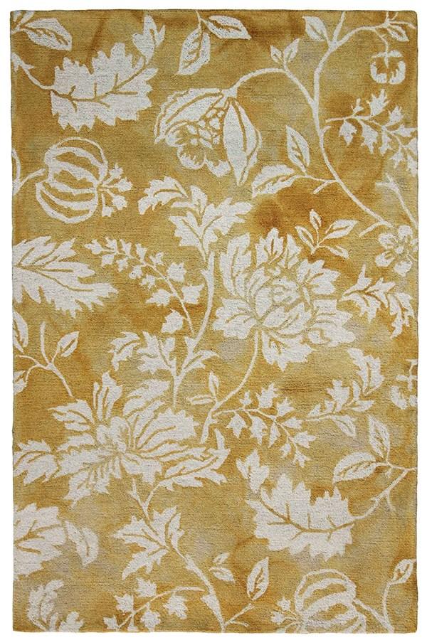 Gold, Ivory (7803-09) Floral / Botanical Area Rug