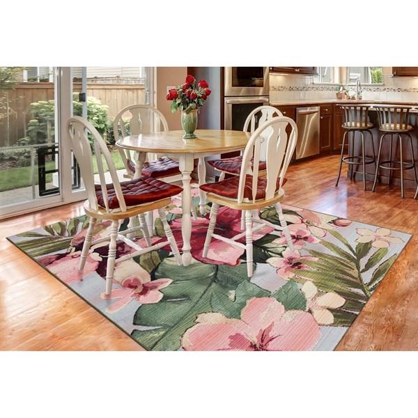 Pink, Green, Grey (8063-44) Outdoor / Indoor Area Rug