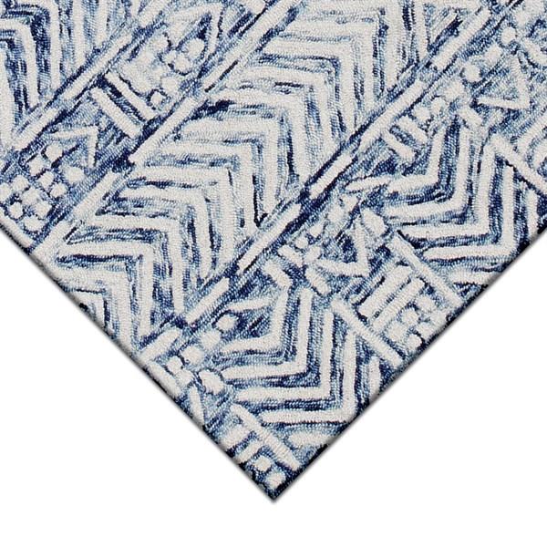 White, Blue (7880-12) Natural Fiber Area Rug
