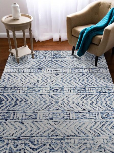 White, Blue (7880-12) Contemporary / Modern Area Rug