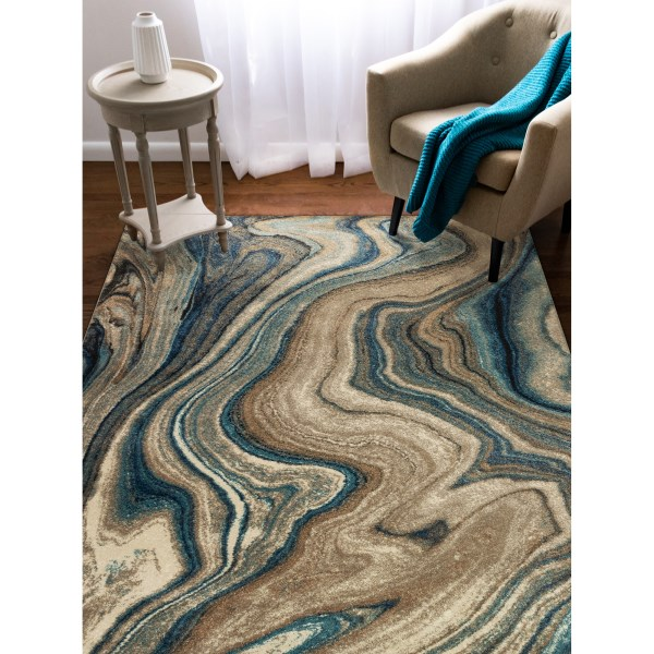 Blue, Beige, Grey (8133-03) Contemporary / Modern Area Rug