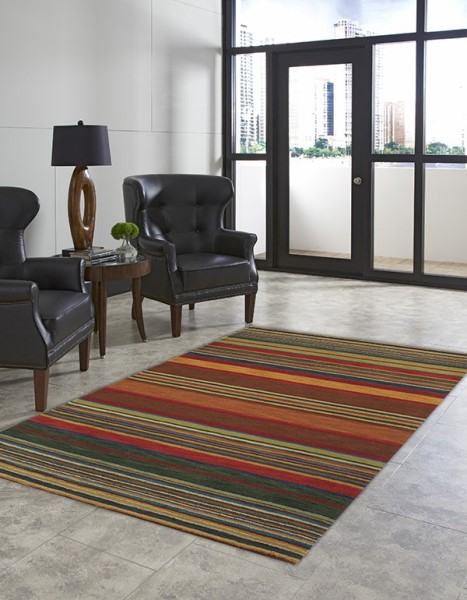 Turquoise, Yellow, Red (9441-44) Striped Area Rug