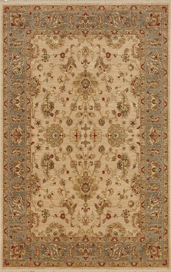 Ivory, Grey Blue (16007) Traditional / Oriental Area Rug