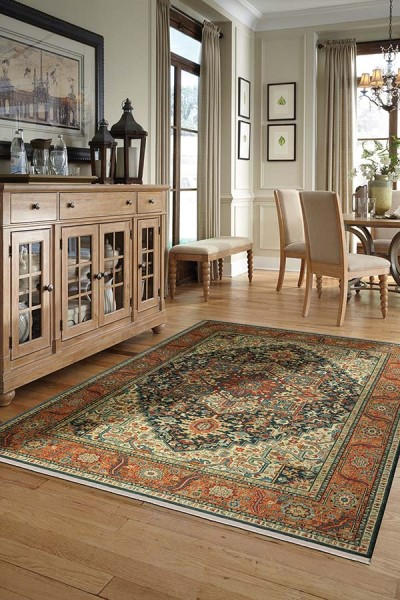 Navy, Burnt Orange, Teal (00990-14601) Bohemian Area Rug