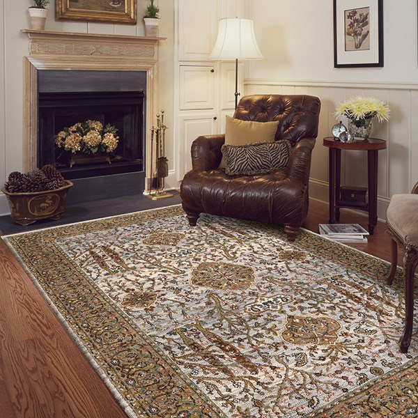 Brown, Cream (90659-70038) Traditional / Oriental Area Rug