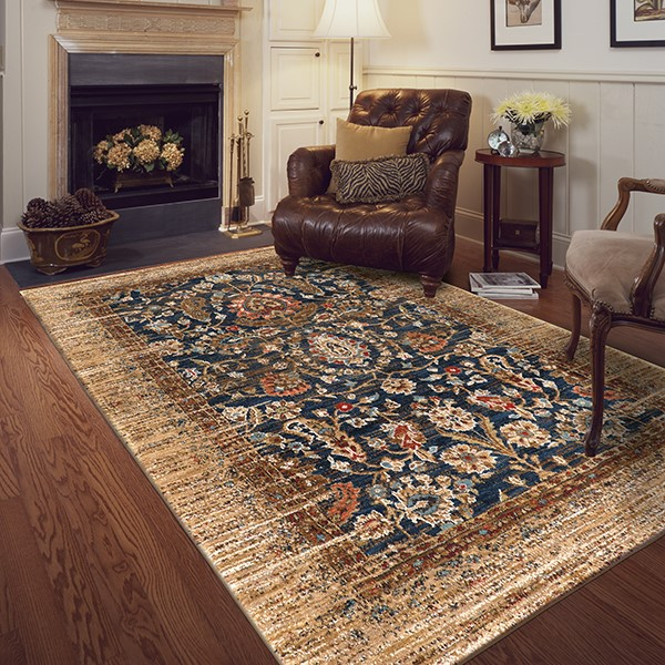 Gold, Brown (90666-10034) Bohemian Area Rug