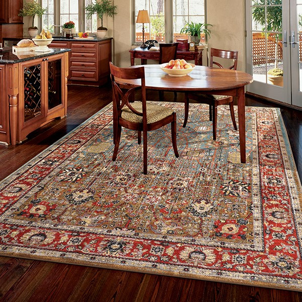 Aquamarine, Red (90668-50123) Bohemian Area Rug