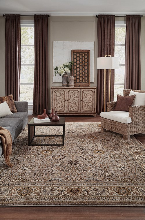 Silver, Cream, Taupe (90671-90100) Traditional / Oriental Area Rug