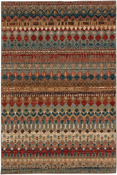 Blue, Rust (90932-80129) Bohemian Area Rug