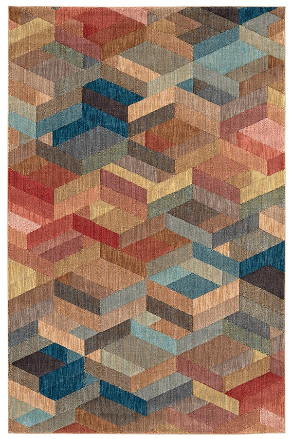 Blue, Red (91203-50101) Contemporary / Modern Area Rug