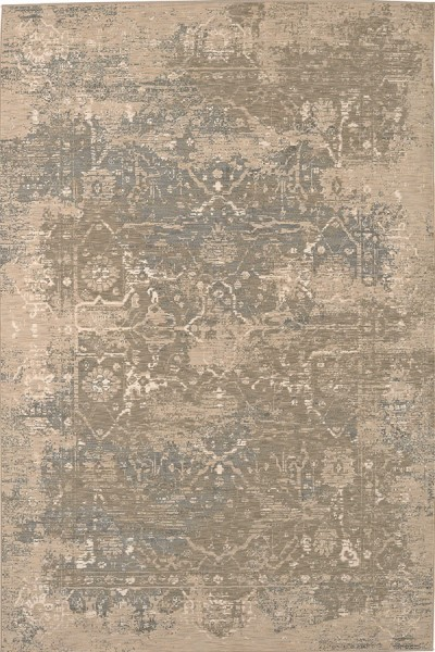 Silver, Ivory, Grey (39478-22012) Vintage / Overdyed Area Rug
