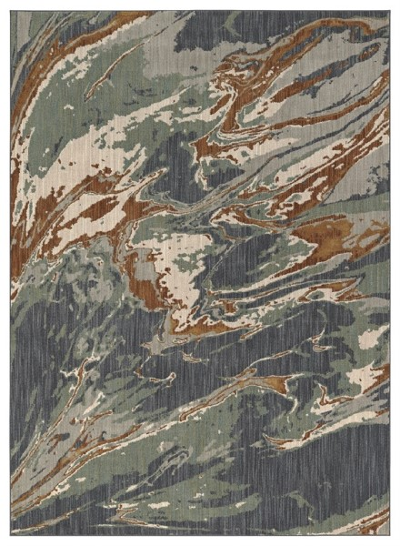 Blue, Rust, Beige Abstract Area Rug