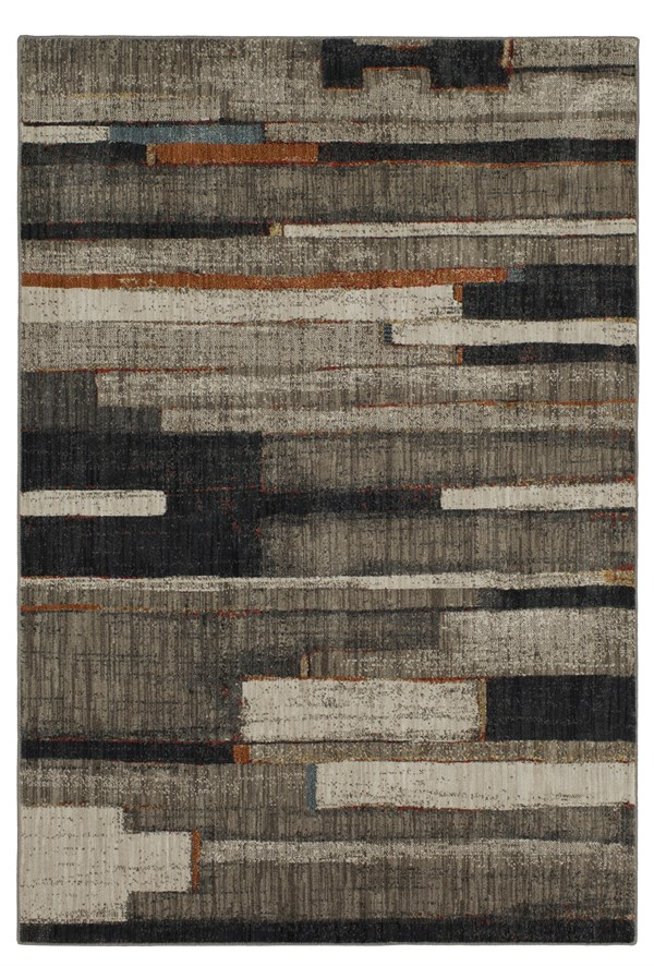 Grey, Beige, Charcoal Contemporary / Modern Area Rug