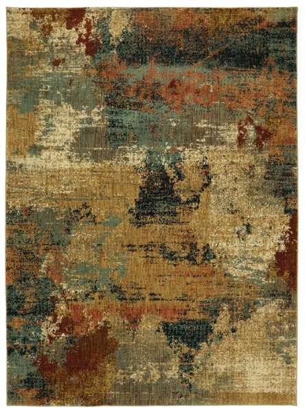 Gold, Beige, Seafoam Abstract Area Rug