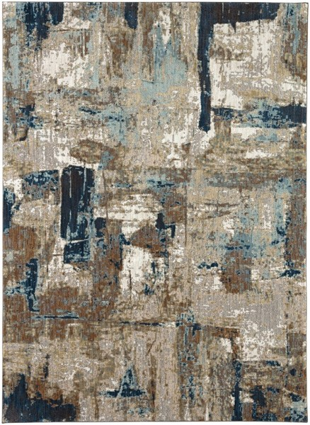 Brown, Blue, Ivory Abstract Area Rug