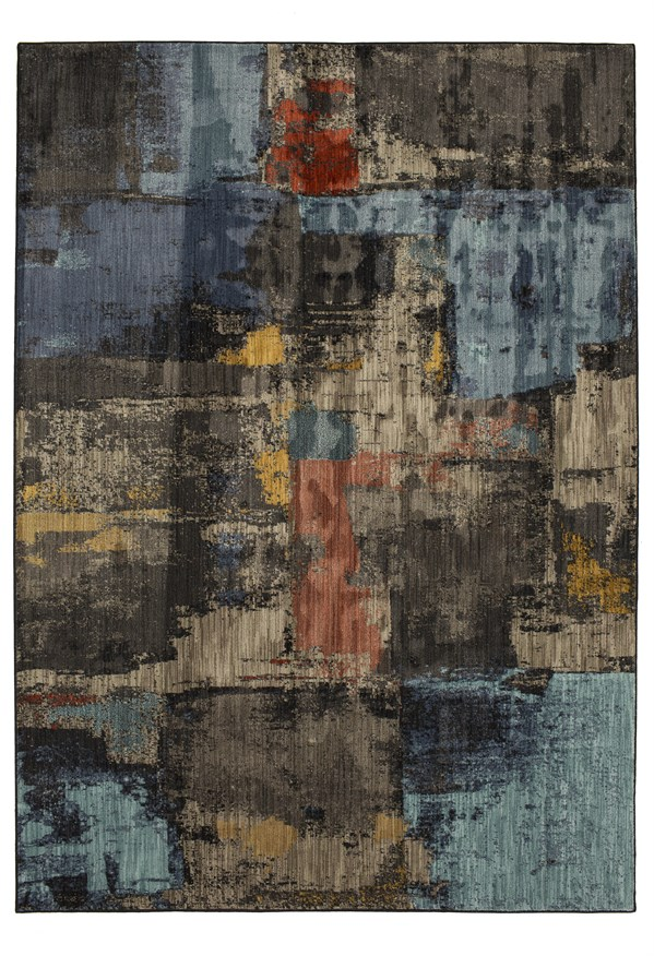 Blue, Brown (Multi) Abstract Area Rug