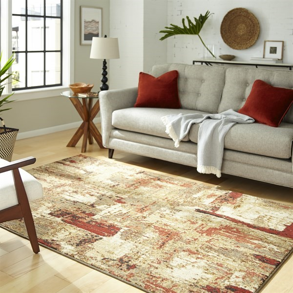 Gold, Cream, Taupe Abstract Area Rug