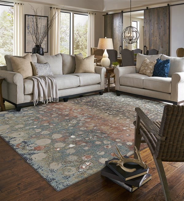 Blue, Grey, Rust (Rose Gold) Transitional Area Rug