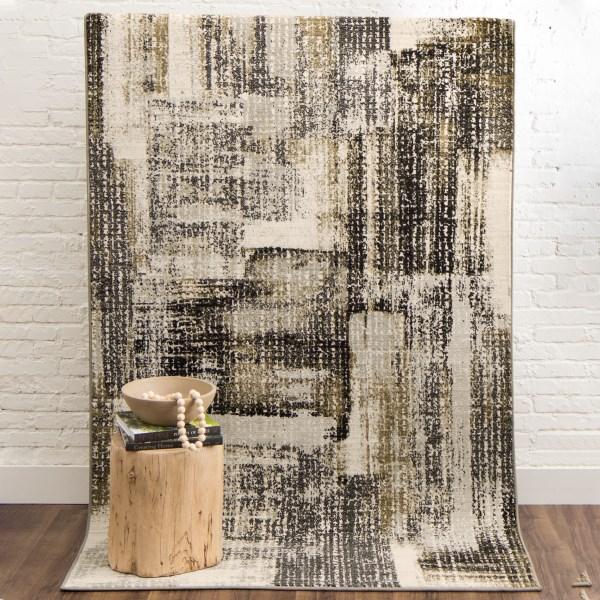 Beige, Brown, Grey (Midnight) Contemporary / Modern Area Rug
