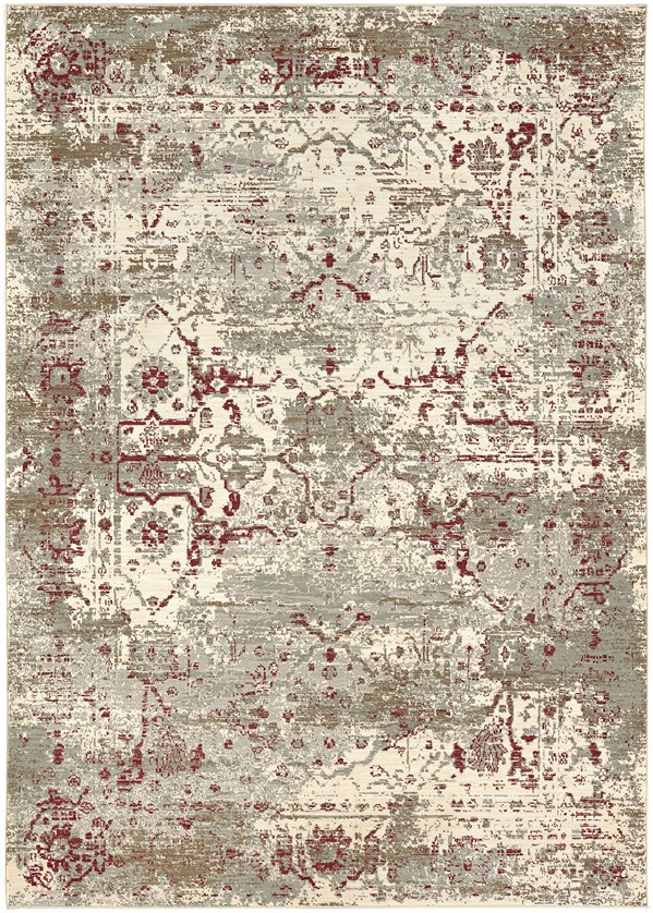 Beige, Taupe, Red (Ruby) Vintage / Overdyed Area Rug